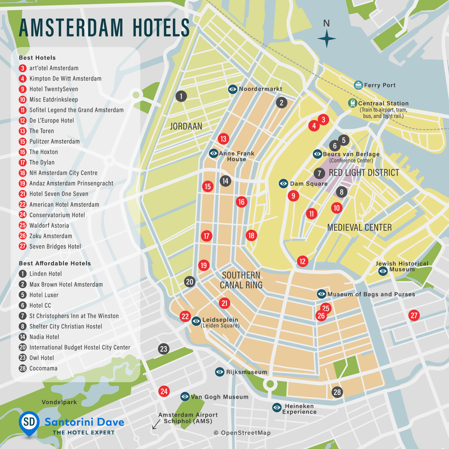 Map of luxury and affordable hotels in Amsterdam
