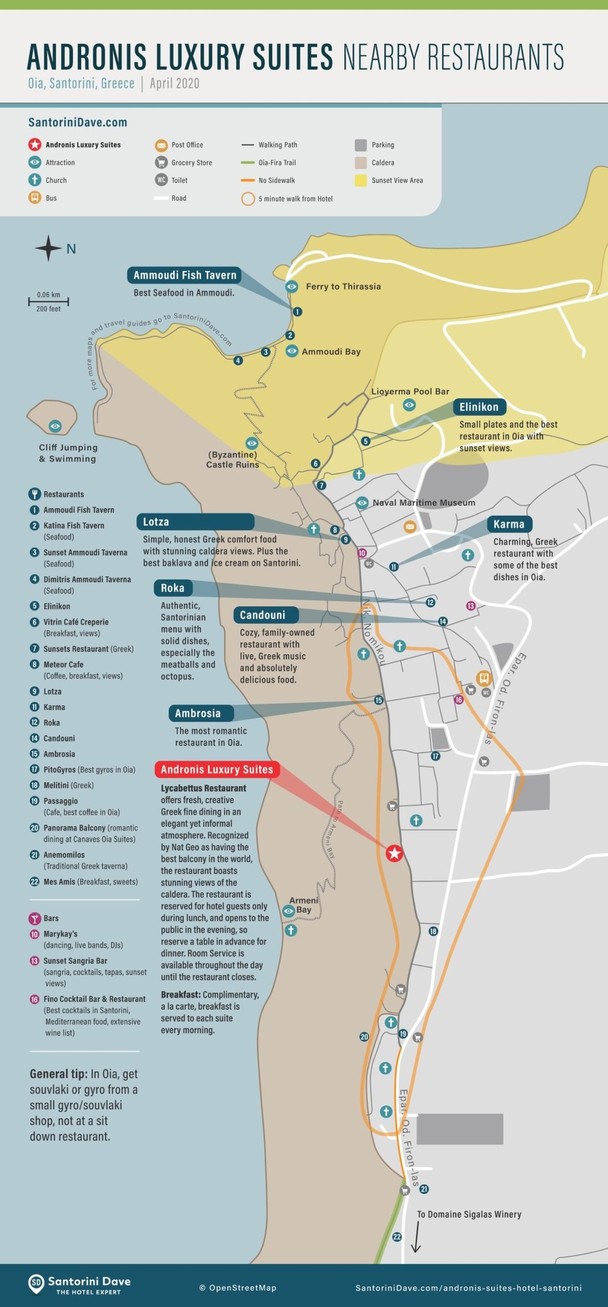 Map of restaurants near Andronis Luxury Suites