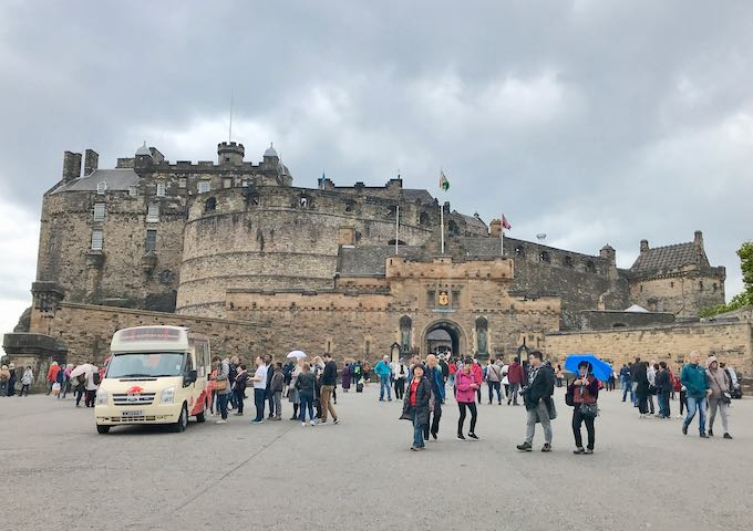 Edinburgh Castle is on the west end of the Royal Mile.