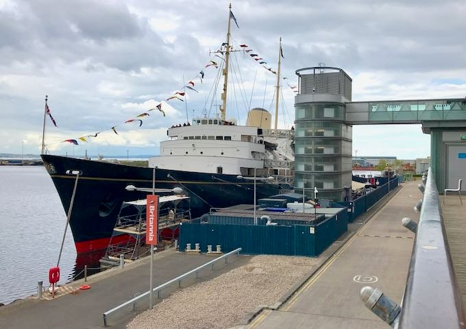 The Royal Yacht Britannia is moored in Leith.