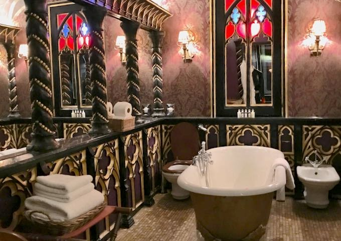 The bathroom is like a Gothic chapel.