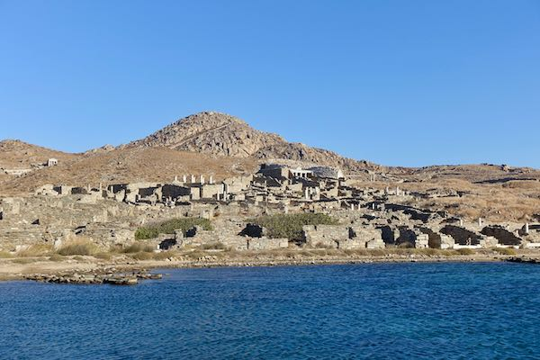 Approaching Delos Island by boat