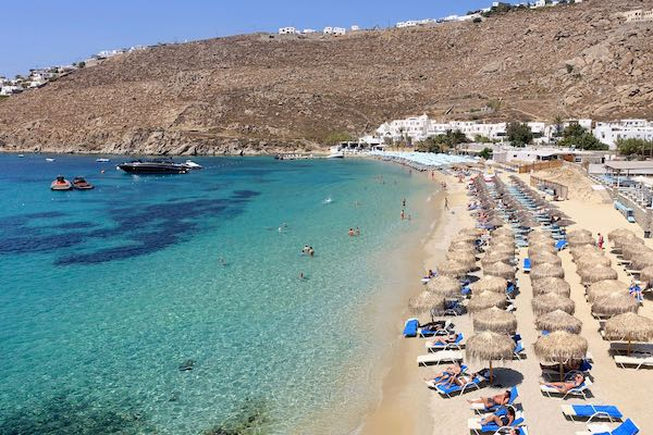 Family-friendly Psarou Beach in Mykonos