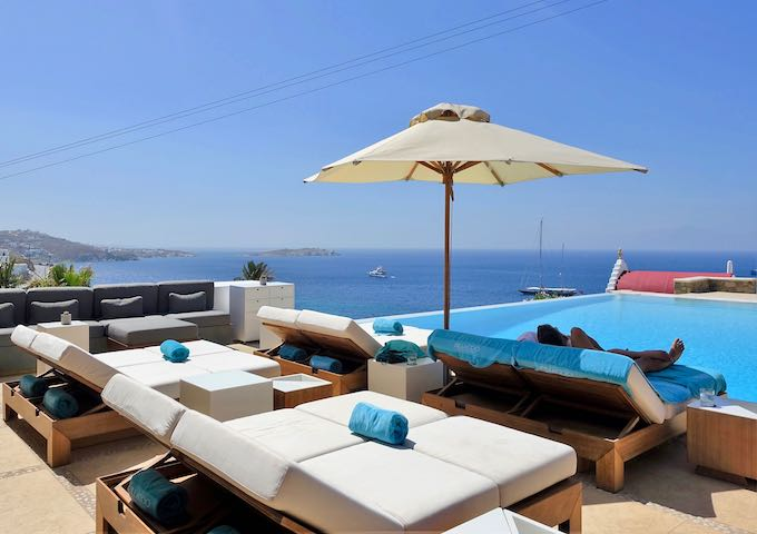The pool and view from Bill and Coo Suites and Lounge in Megali Ammos