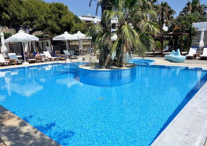 The center of the pool at Mykonos Theoxenia in Mykonos Town