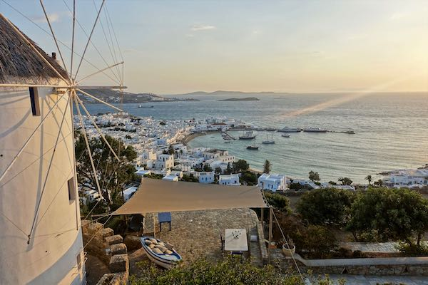 View over Mykonos Town and the Old Port