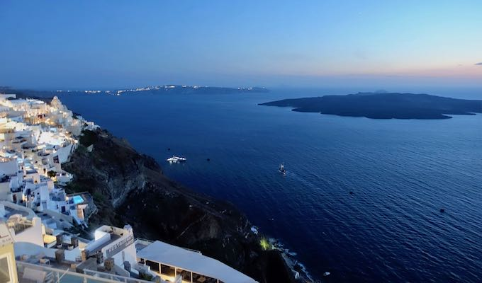 Post-sunset view from Fira facing southwest.