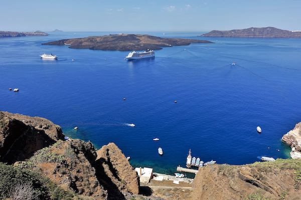 View of the Santorini caldera from Fira