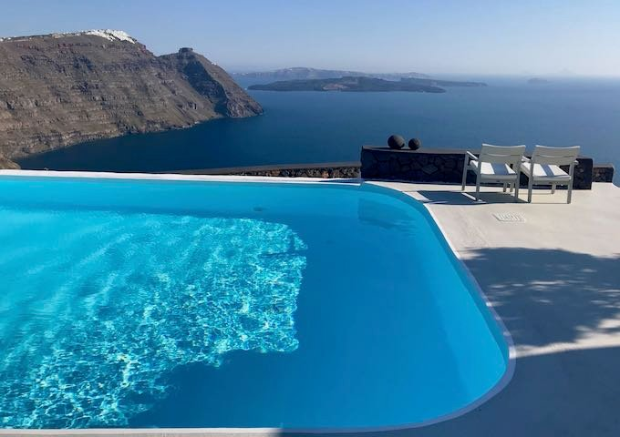 View of the caldera from the pool at Aenaon Villas near Imerovigli, Santorini