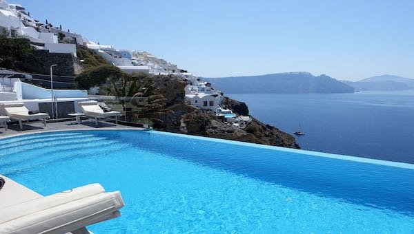 The infinity pool at Santorini Secret Suites and Spa in Oia