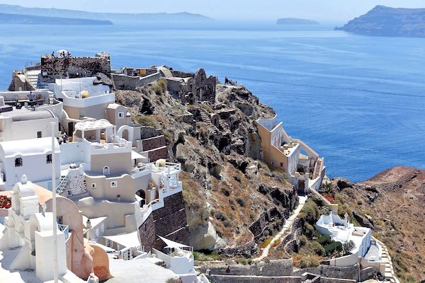 View of Oia's castle ruins