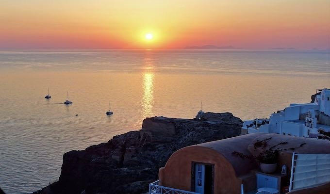 Sunset view from the castle ruins in Oia