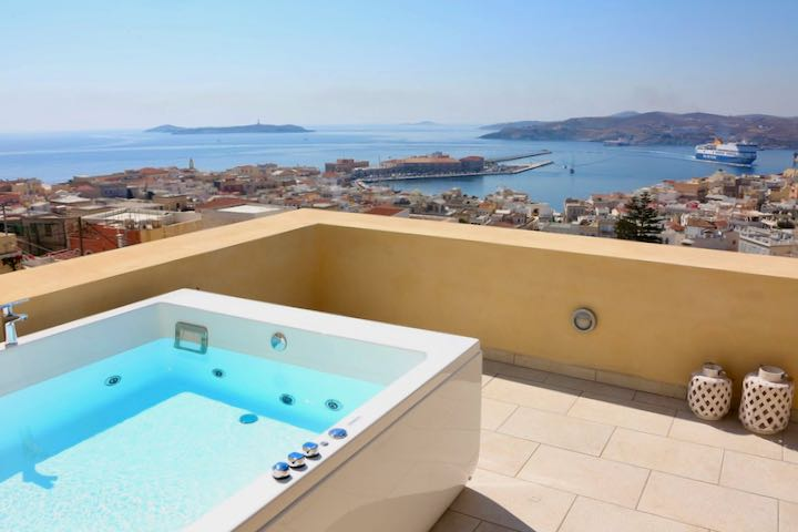 Best hotel with view, private patio, and jacuzzi in Syros.