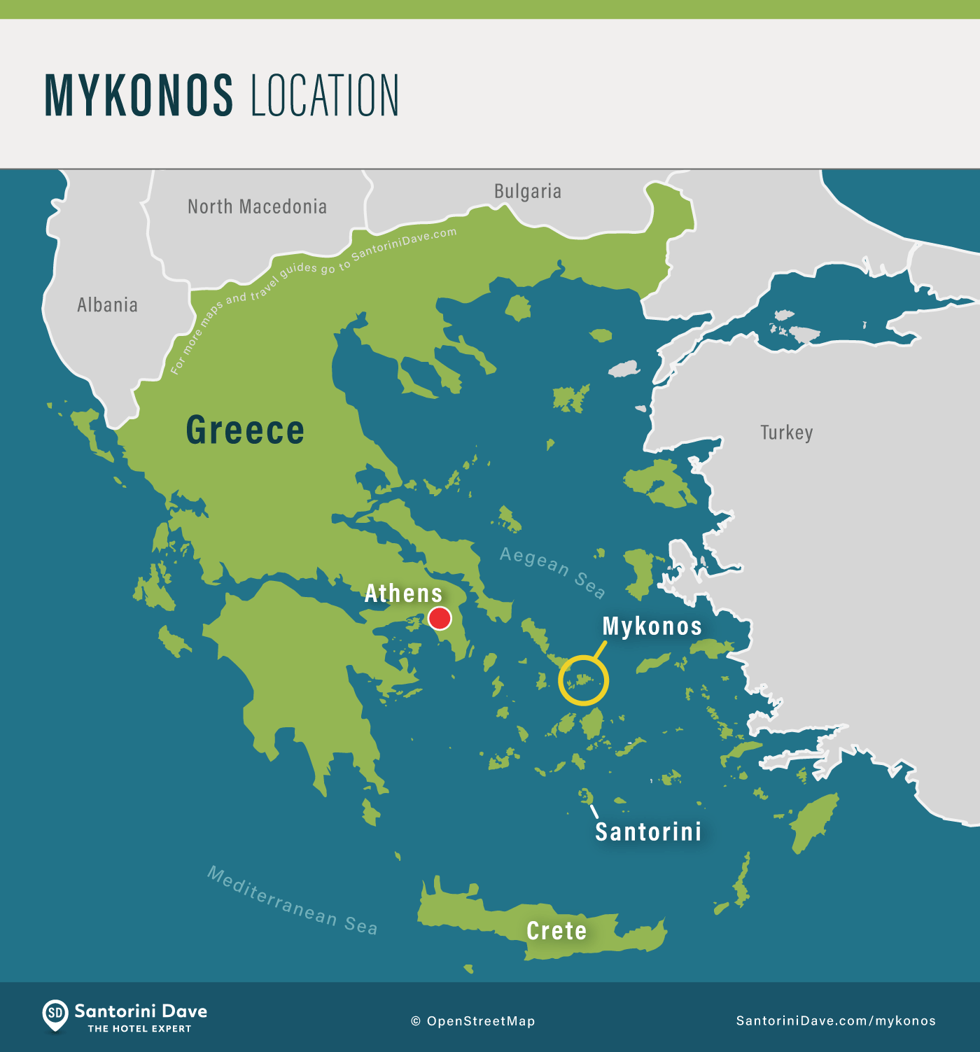Map showing the location of the island of Mykonos in Greece