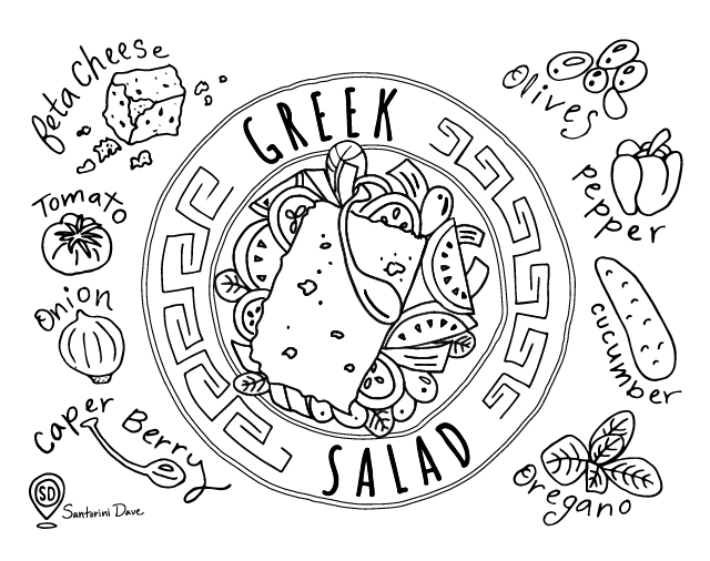 Greek salad coloring page for adults and kids.