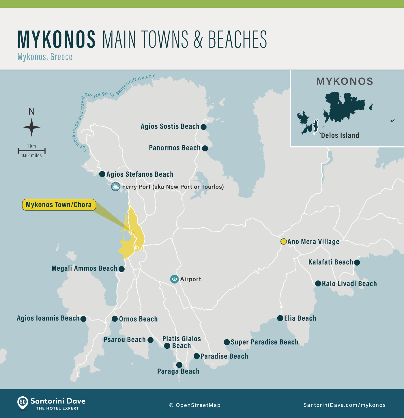 Map showing the location of the main towns and beaches on Mykonos, Greece