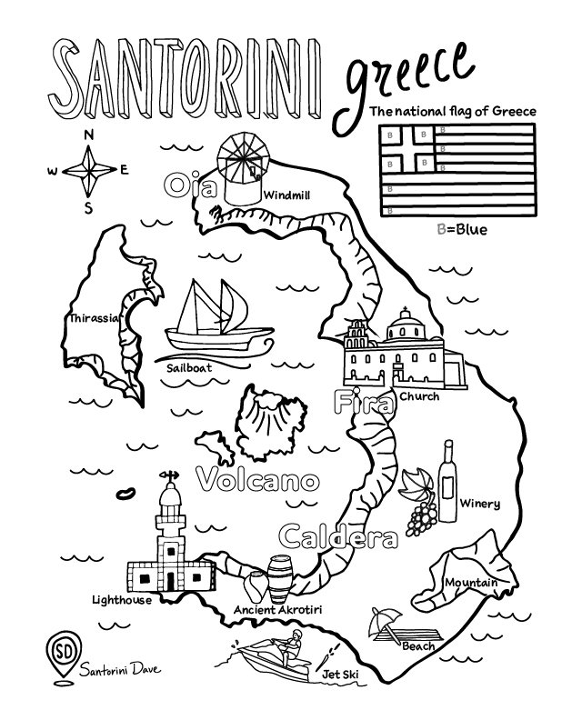 Santorini coloring map for adults and kids.