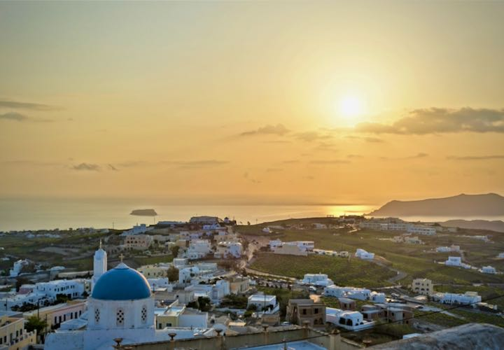 Sunset view from Pyrgos, a hilltop village on Santorini