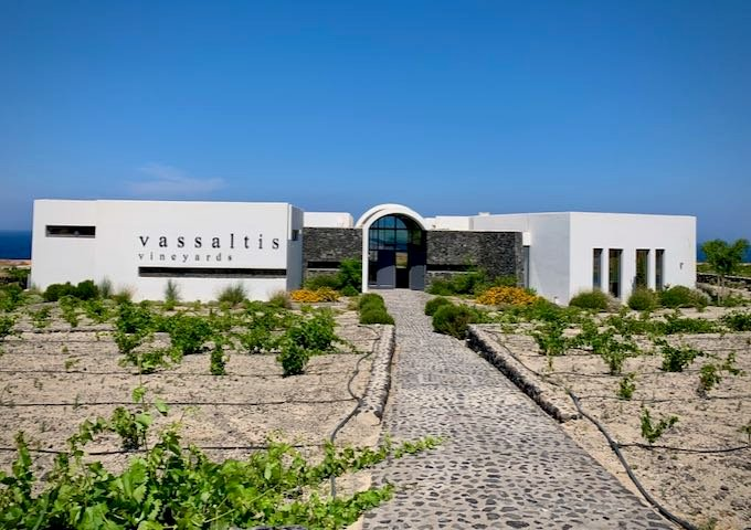 The exterior of Vassaltis winery in Santorini