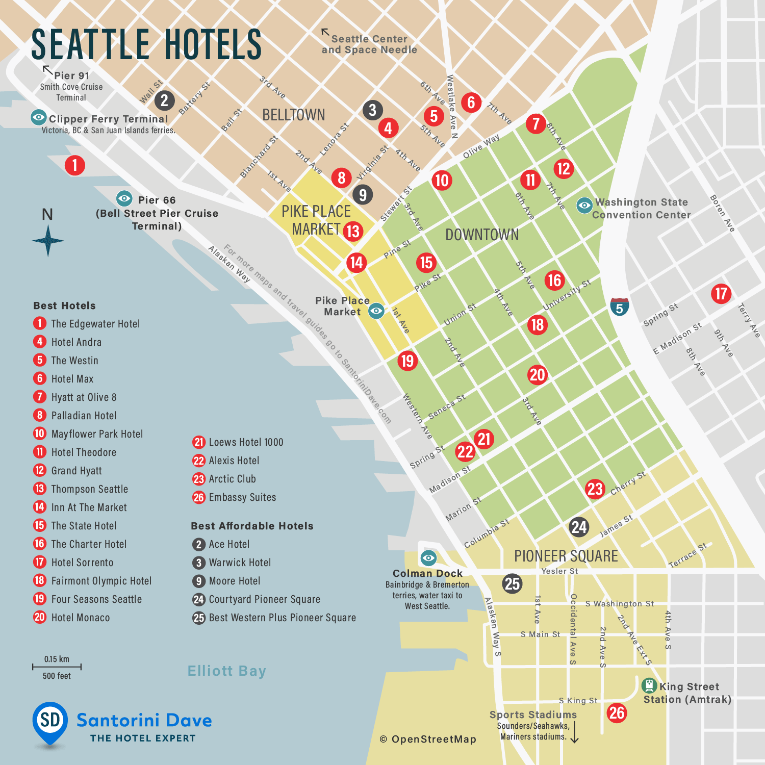 Map of Seattle Hotels
