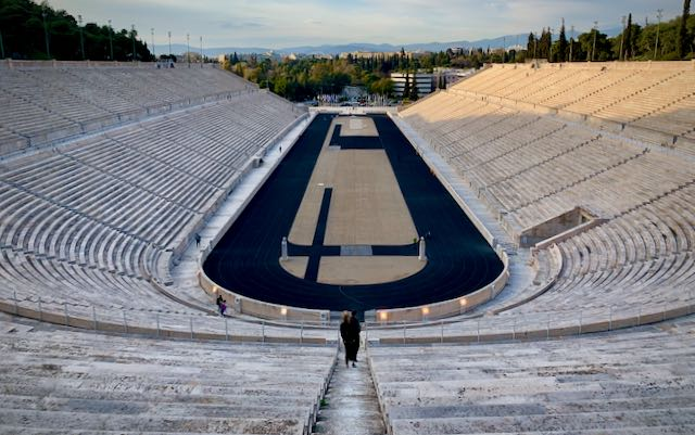 View looking down at the empty Panathenaic Stadium in Athens, viewed from the top.