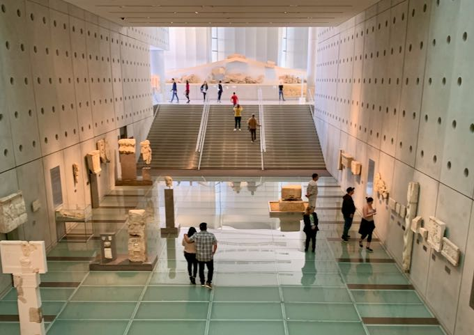 People view artifacts in the Athens Acropolis Museum