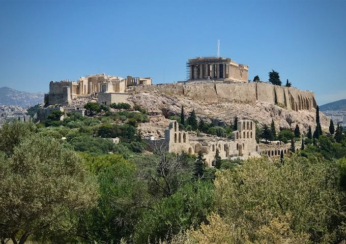 The ancient acropolis in Athens, Greece, as viewed from the city below.