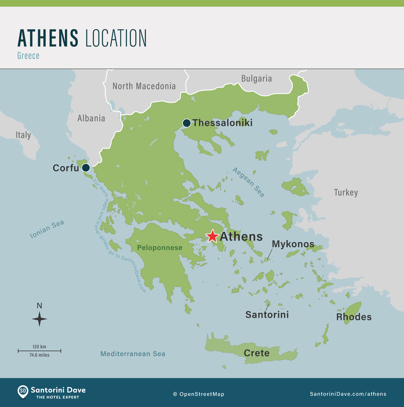 Map showing the location of Athens within Greece