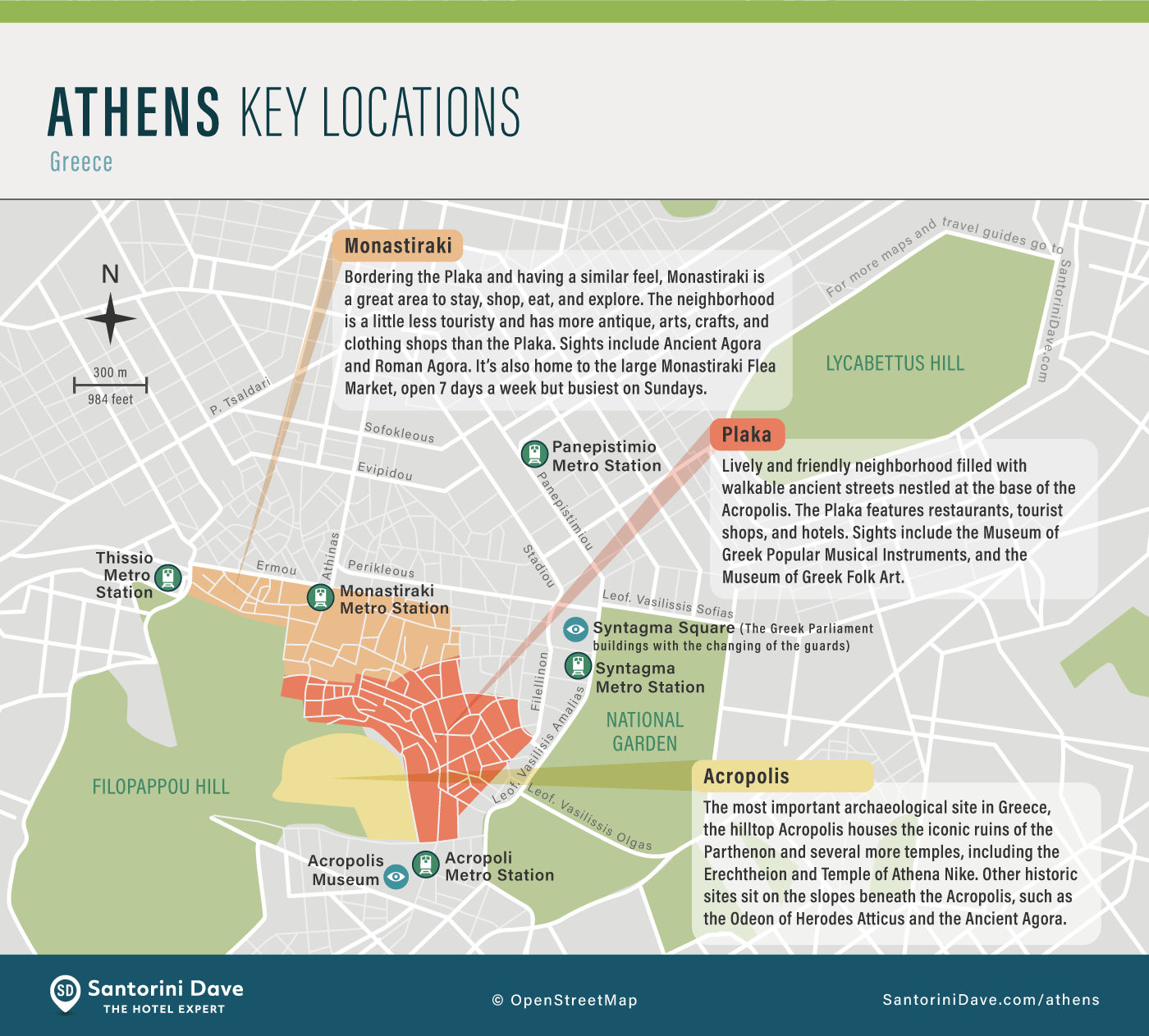 Map showing the top areas and attractions in Athens, Greece