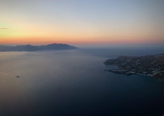 Sunset view of the Greek islands from an airplane