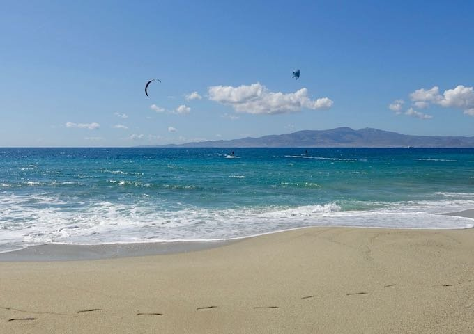 Kitesurfing at Glyfada Beach in Naxos