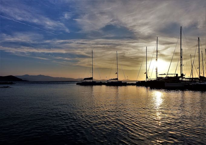 Sunset at the Naxos port and marina
