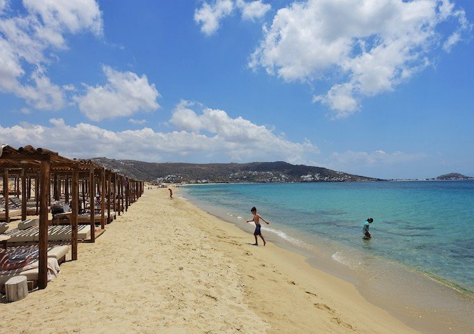 Tortuga Beach Club on Plaka Beach in Naxos