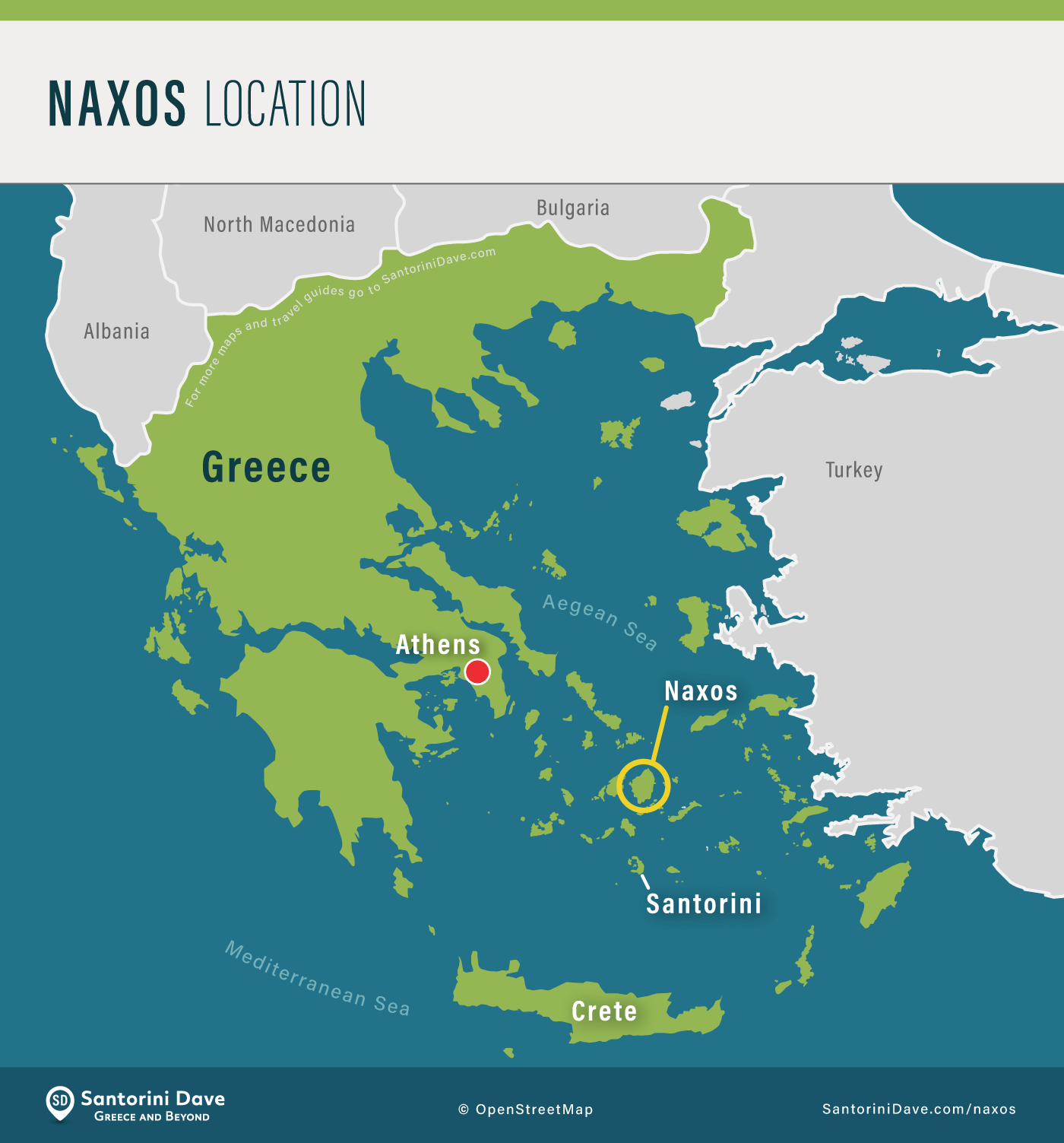Map showing the location of Naxos Island, in Greece.