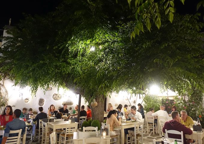 Dining under the tree at Doukato in Naxos Town
