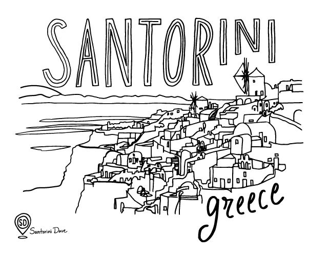 Santorini Oia town coloring page for adults and kids.