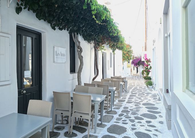 Les Amis alley seating in Naoussa, Paros