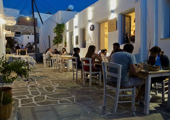 Statheros alley seating in Naoussa, Paros