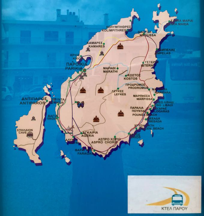Map showing the bus stops and routes on Paros, Greece