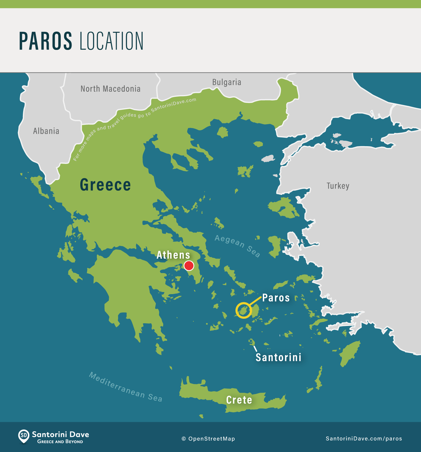 Map showing the location of Paros Island in Greece