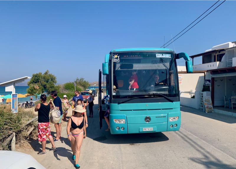 Bus from Naxos Town to Plaka Beach.