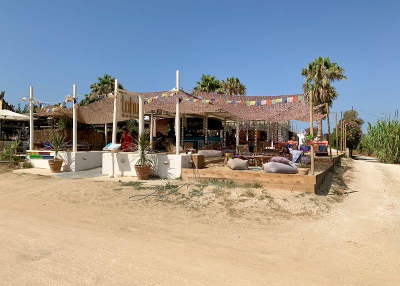 Hotels at Plaka Beach in Naxos, Greece.