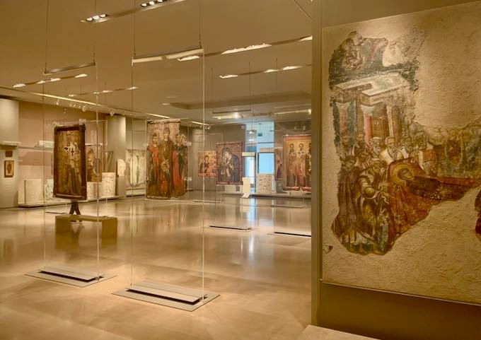 Byzantine art on display in an airy museum gallery