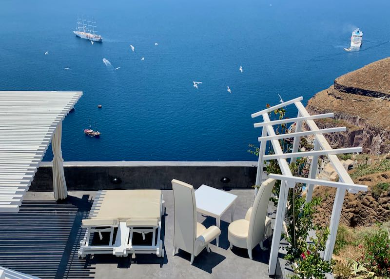 Accommodations in Santorini with caldera view.