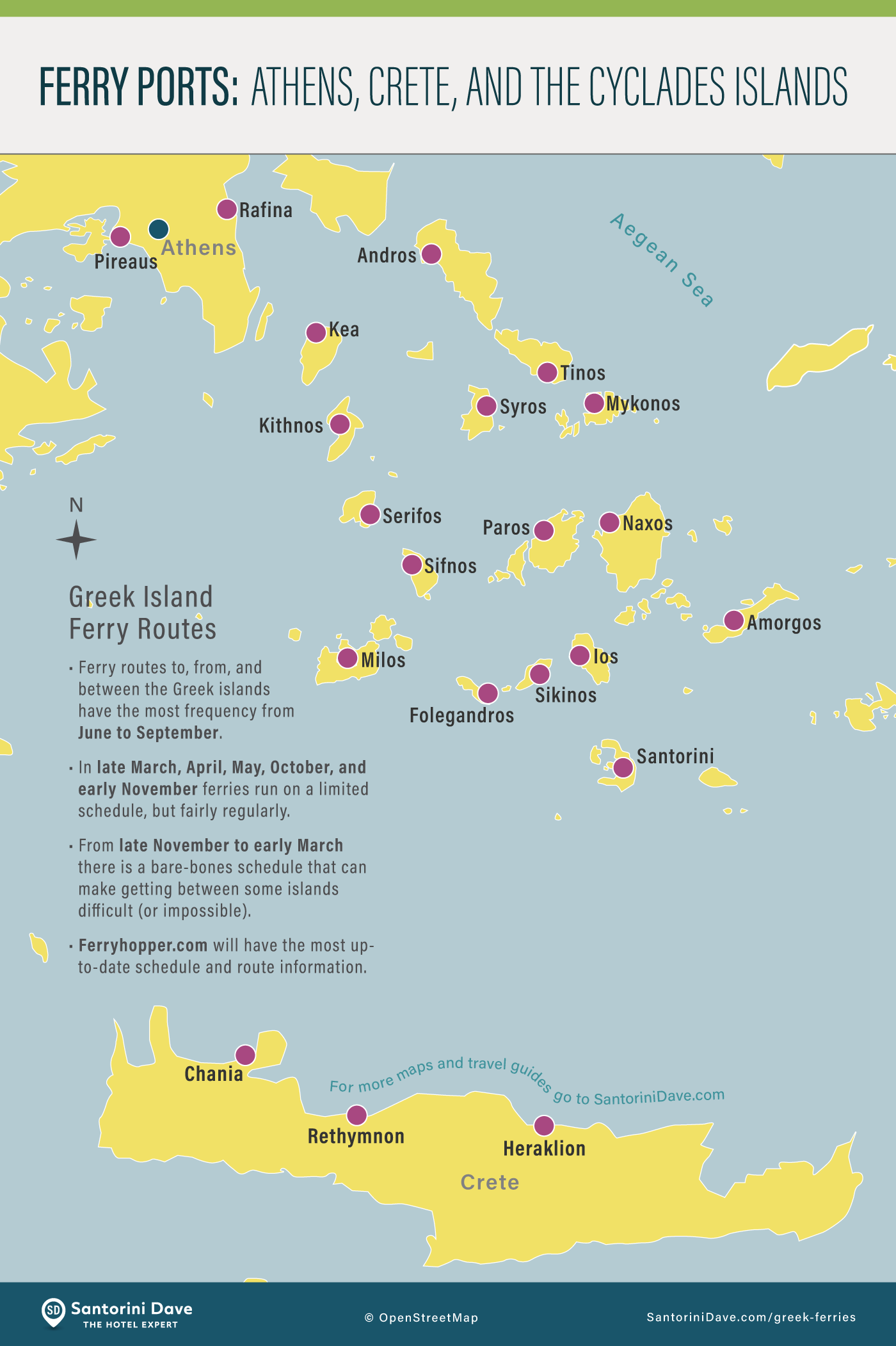 Map indicating the most popular ferry ports in the Greek Islands