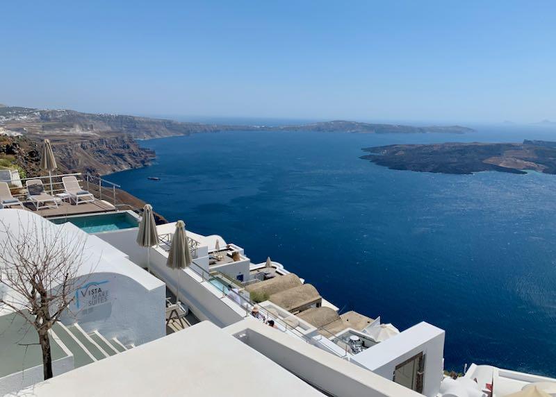 Luxury hotel with caldera view.