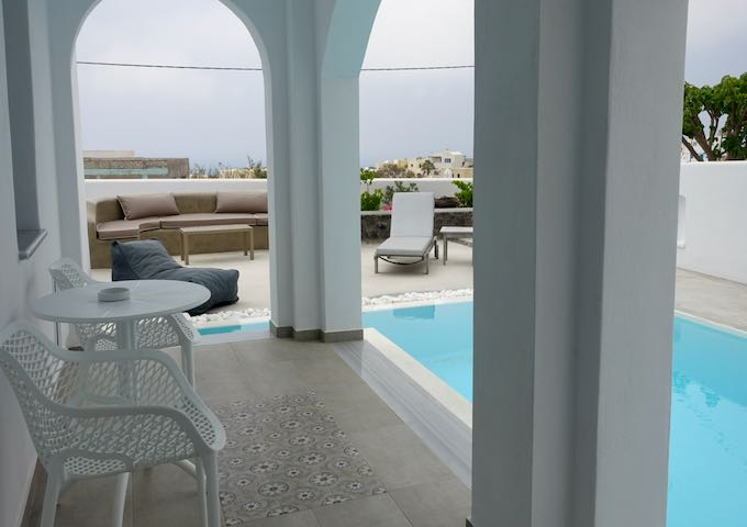 Hotel suite terrace with pool