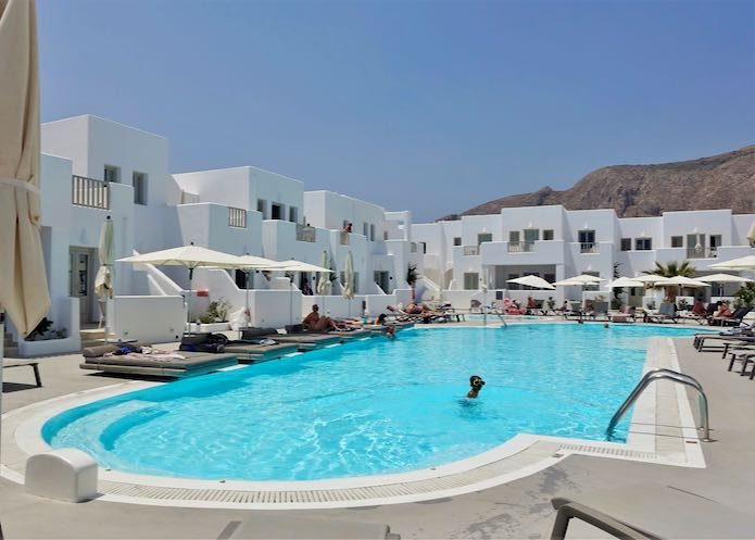Perissa hotel with large pool.