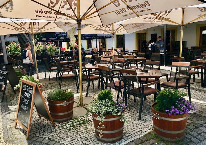 Vojanuv Dvur microbrewery has nice outdoor seating.