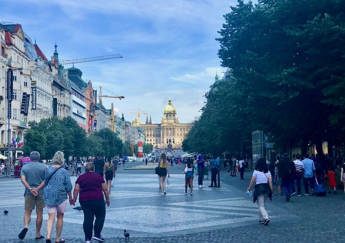 Wenceslas Square is the new town center.